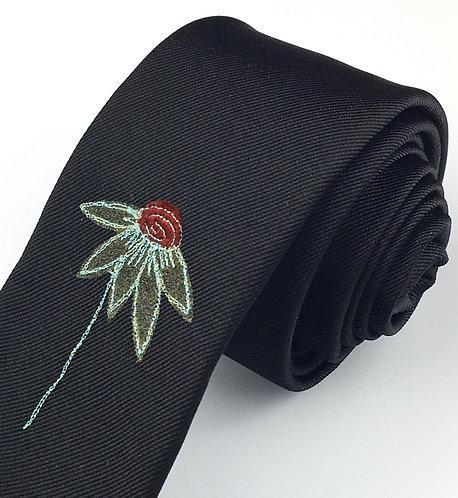 Echinacea- black silk tie