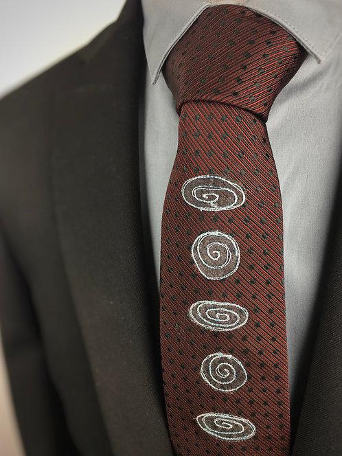claret dot - spiral silk tie