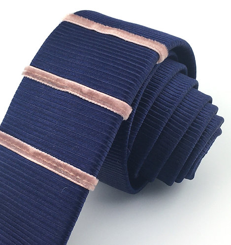 navy - three stripe silk tie