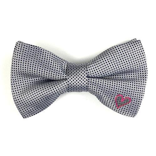 silver blue dot - one heart silk bow