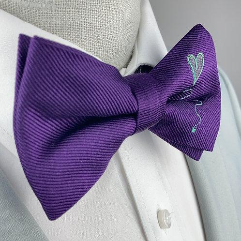 rich purple - spiral heart silk bow
