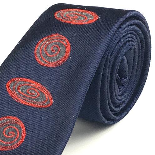 midnight blue - spiral silk tie
