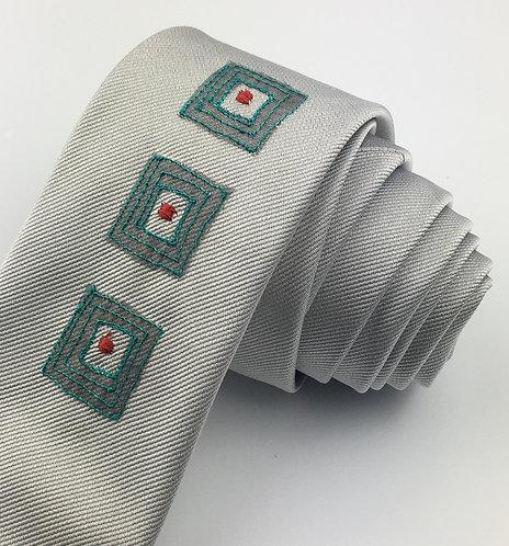 silver - three square silk tie