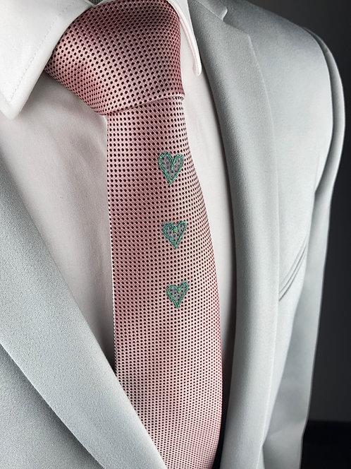 blush pink dot - three heart silk tie