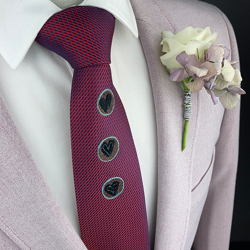 deep pink - circle heart silk tie
