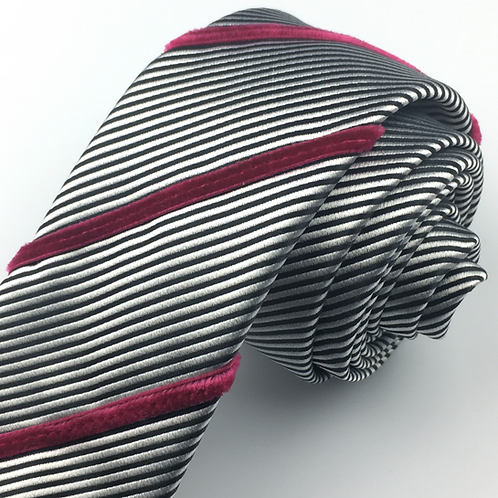 black silver - three stripe silk tie