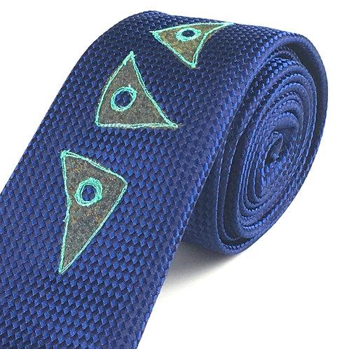 navy dogtooth - fifties three triangle silk tie