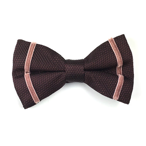 claret dot - two stripe silk bow