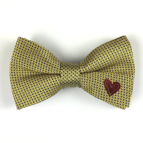 gold - one heart silk bow