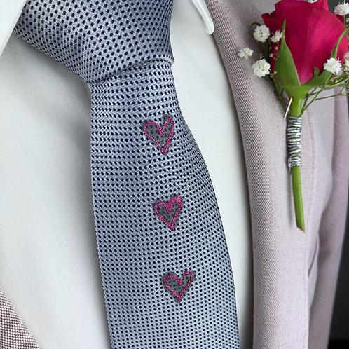 silver blue dot - three hearts silk tie