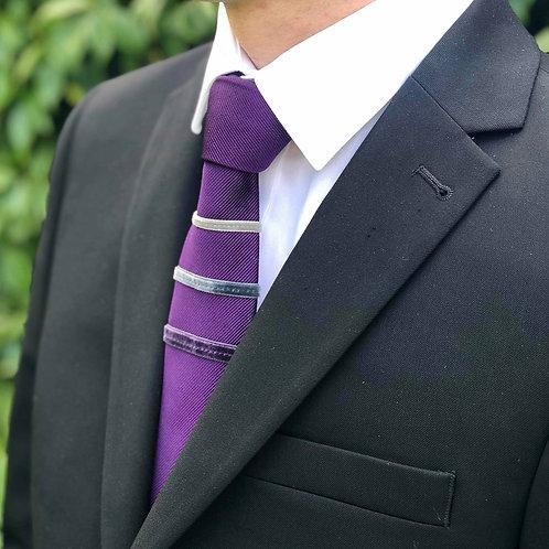 rich purple - three stripe silk tie