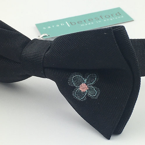 black - two daisy silk bow