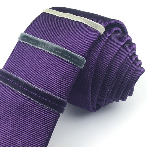 rich purple - three stripe silk tie