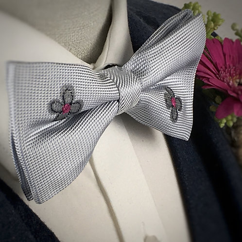 pale blue - two daisy silk bow