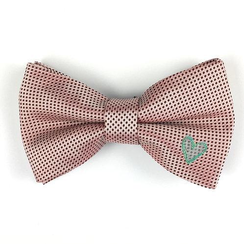 blush pink dot - one heart silk bow