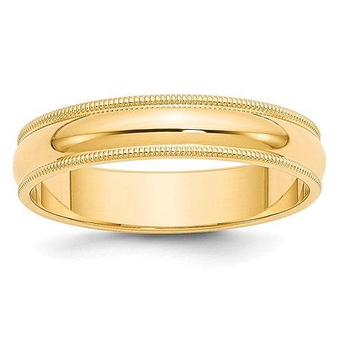 14kt Yellow Gold Half-Round Milgrain Band