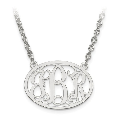 Personalized Oval Monogram Pendant w/Chain