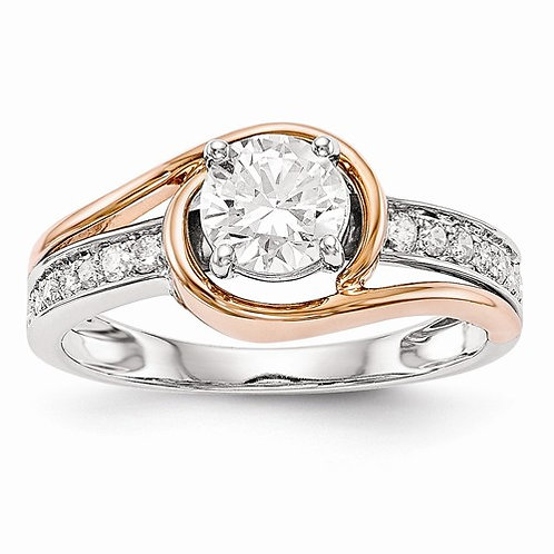 14k Gold Engagement, Semi-Mount 0.18ct