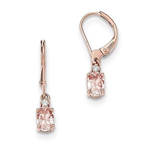 Genuine Morganite Earrings, 14k Rose Gold L/B