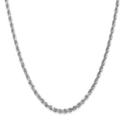 14kt White Gold D/C Rope, 3.10mm