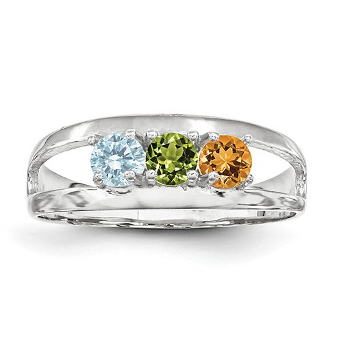 3-Stone Mother's Ring, 14kt White Gold, Genuine