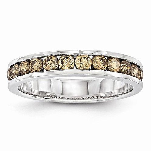 14kt Band, Genuine Champagne Diamonds 0.75ct