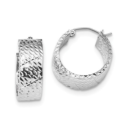 Fashion Hoops, Sterling Diamond-Cut Squared