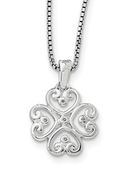 Sterling Silver Shamrock Pendant with Diamond