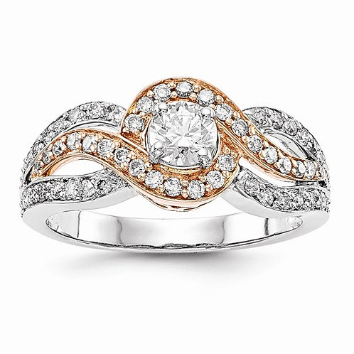 14k Gold Engagement, Semi-Mount 0.47ct