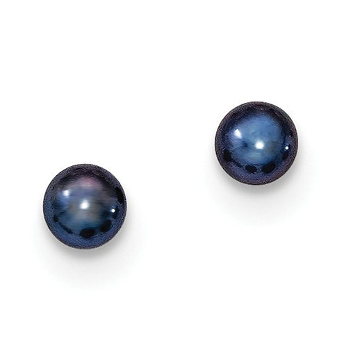 Freshwater Black Pearl Studs, Sterling Silver