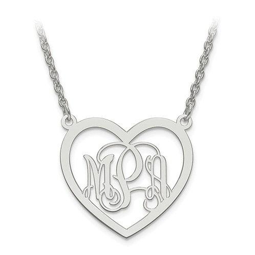 Personalized Heart Monogram Pendant w/Chain