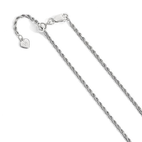 Sterling Silver Adjustable Chain, 2.25m D/C Rope