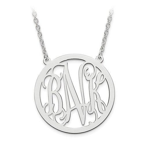 Personalized Circle Monogram Pendant w/Chain