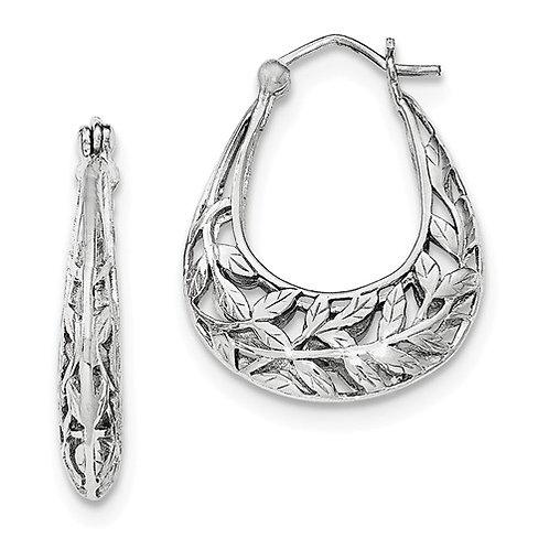 Fashion Hoops, Open Leaves, Sterling