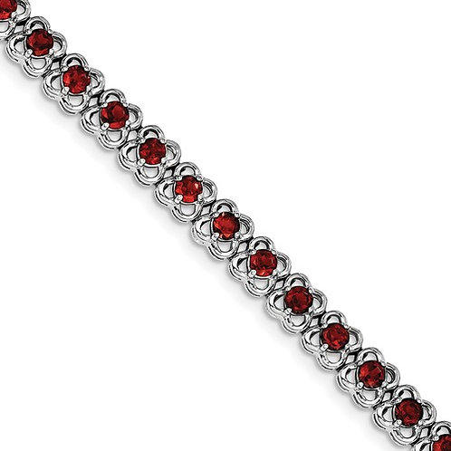 "Sterling Bracelet, 6.50ct Genuine ""AA"" Garnets"