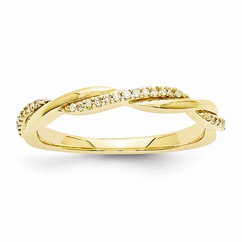 14kt Diamond Band, Twisted Rope, 1/10ct Total Weight