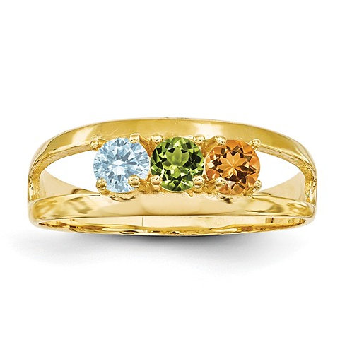 3-Stone Mother's Ring, 14kt Yellow Gold, Genuine