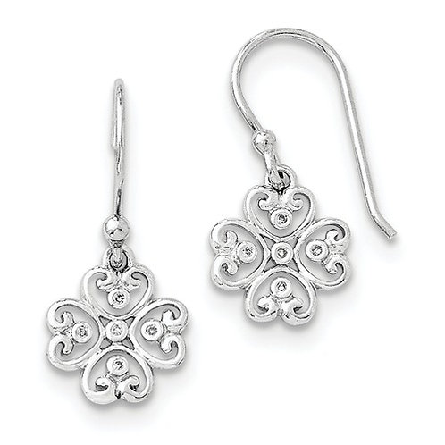 Sterling Silver Shamrock Earrings w/Diamonds