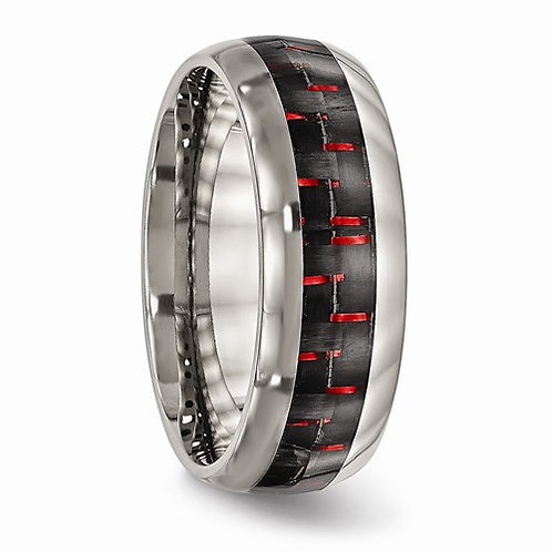 Titanium Band, Polished Black & Red Carbon Fiber Inlay
