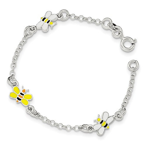 Quality® Child's Bracelet, Sterling Bumblebees