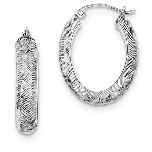Sterling Silver Fashion Hoops, Oval Textured