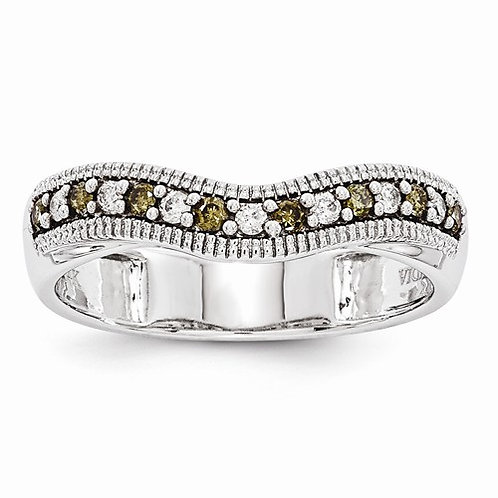 14kt Designer Band, Champagne & White Diamonds 0.25ct