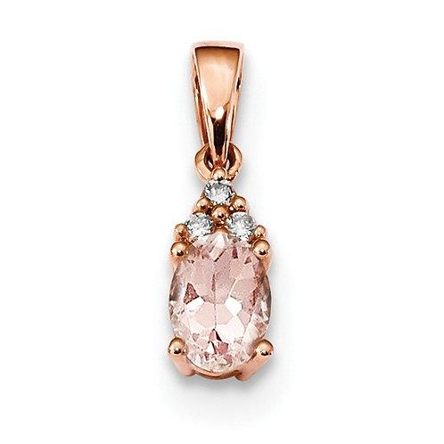 Genuine Morganite Pendant, 14k Rose Gold