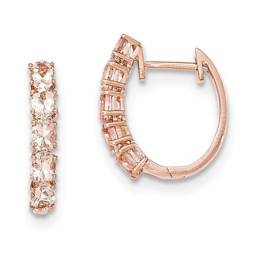 Genuine Morganite Hoops, 14k Rose Gold