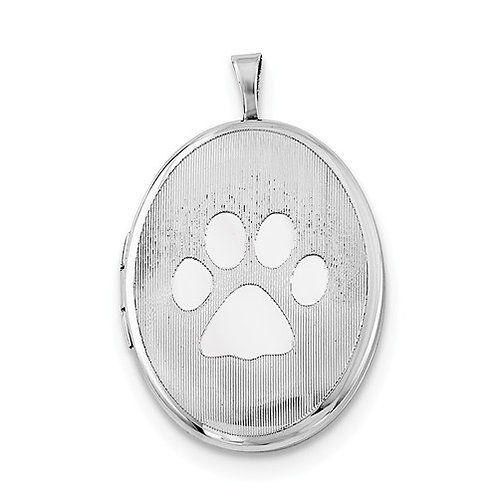 Oval Locket, Sterling Silver Paw Print