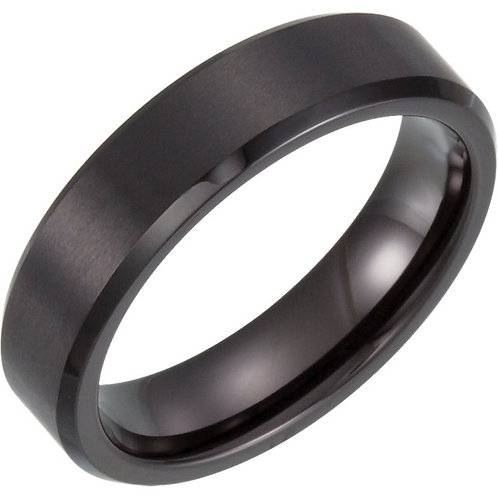 Tungsten Black Bevel-Edge Band