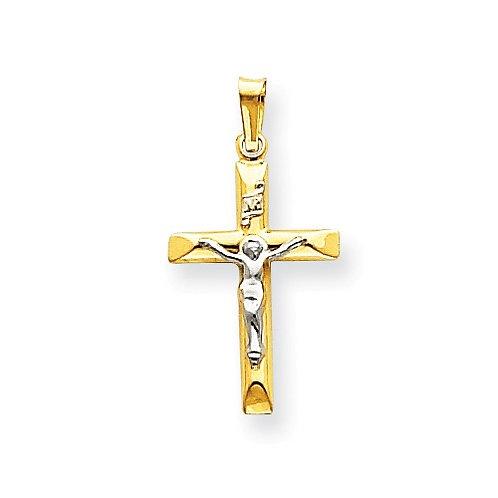 14kt INRI Crucifix, Polished Two-Tone