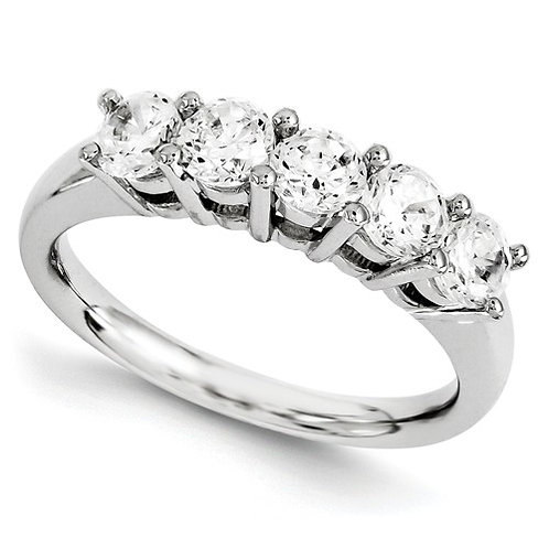 14kt Diamond Band, 5 Stone 1.09ct Total Weight