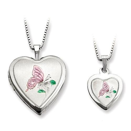 "Heart Lockets, Sterling Silver ""Just Like Mommy""© Set"