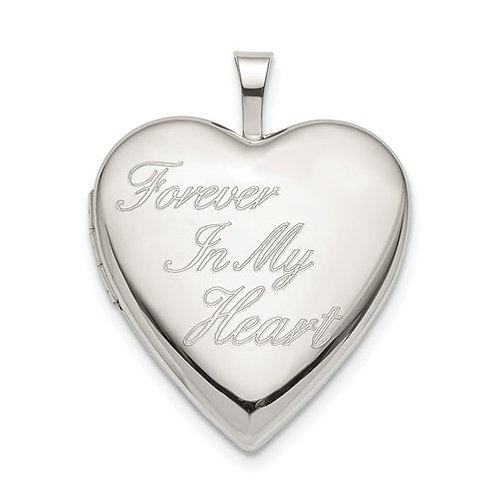 Heart Locket, Sterling Silver Engraved